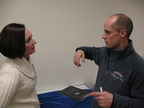 Allison Manley and Kurt Browning in a photo for the Manleywoman Skatecast, a figure skating podcast