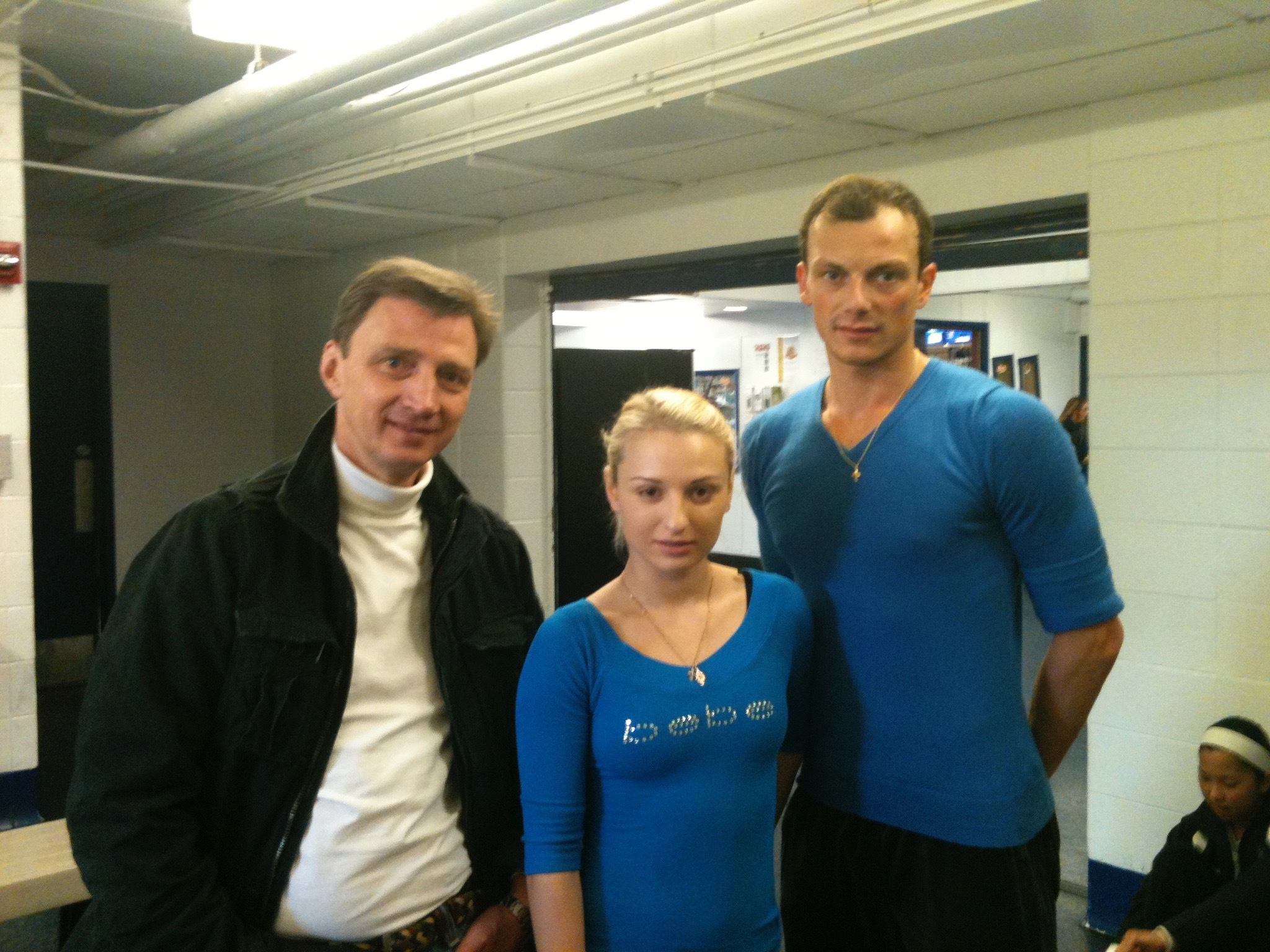 Oleg Vassiliev and a young pair team for the manleywoman skatecast, a figure skating podcast