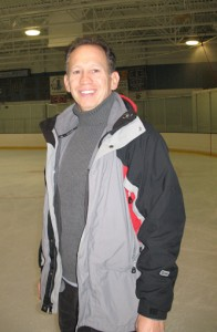 Phillip Mills in a photo for the Manleywoman Skatecast, a figure skating podcast