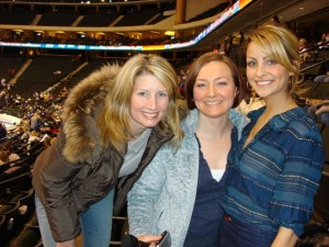 Allison Manley with Kim Sailer and Tanith Belbin in a photo for the Manleywoman Skatecast, a figure skating podcast