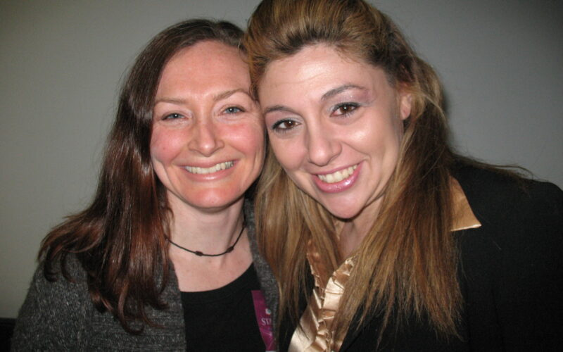 Allison Manley and Tara Modlin in a photo for the manleywoman skatecast, a figure skating podcast