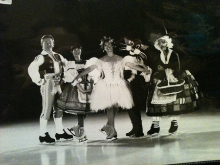 Alexander Fadeev on the left, Jennifer Ito, Dorothy Hamill, and two characters in a photo for the Manleywoman Skatecast, a figure skating podcast