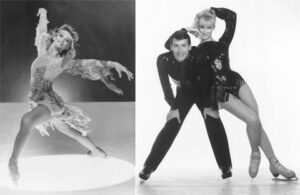 Jojo Starbuck and Ken Shelley in a photo for for the manleywoman skatecast, a figure skating podcast
