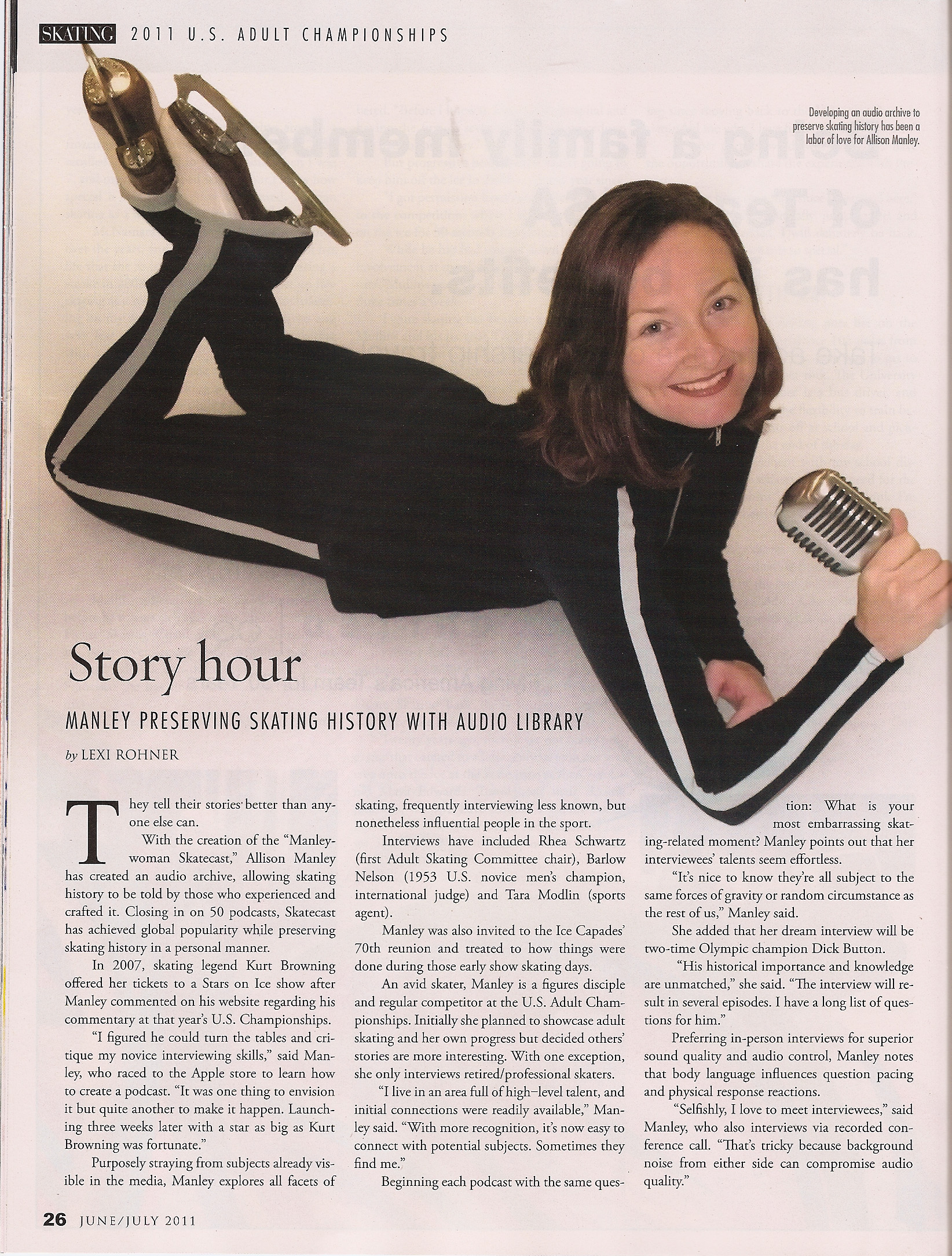 Image from 2011 Skating Magazine article about the Manleywoman Skatecast, a figure skating podcast