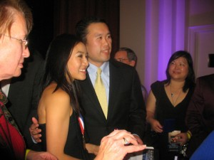 Michelle Kwan and Vincent Leung in a photo for the Manleywoman Skatecast, a figure skating podcast