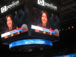 Michelle Kwan on the jumbotron
