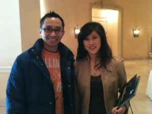 Krist Yamaguchi with a fan in a photo for the Manleywoman Skatecast, a figure skating podcast