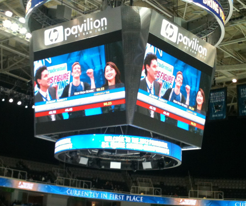 Jeremy Abbott on the jumbotron with Jason Dungeon and Yuka Sato at US Nationals