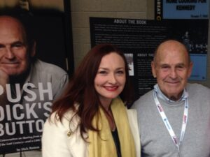 Allison Manley and Dick Button at the 2014 US Championships for the manleywoman skatecast, a figure skating podcast