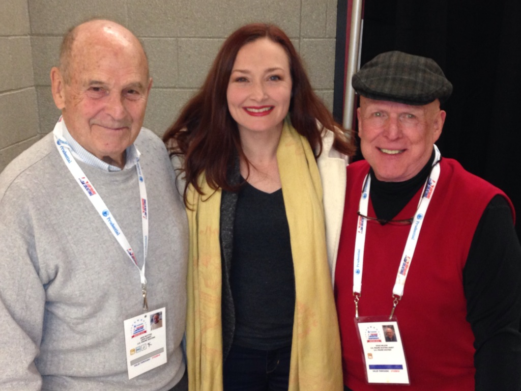 Allison Mnaley with Dick Button and Doug Wilson in a photo for for the manleywoman skatecast, a figure skating podcast