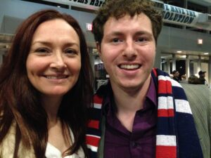 Allison Manley and Parker Pennington in a photo for the manleywoman skatecast, a figure skating podcast